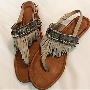 Report Fringed, Beaded Thong Sandals-Size 8
